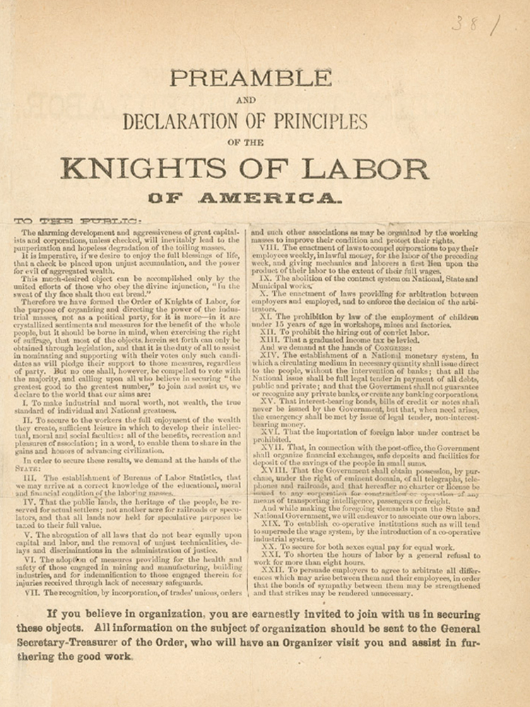 Knights of Labor, 1886 Declaration of Principles
